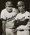Ted and Twig confer during a '69 game
